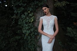 Wholesale Wedding Dresses Embroidered Shoulders - Sexy lace wedding dress off shoulder beading short sleeve backless bottom mermaid court train bridal gowns