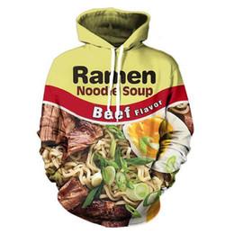 Wholesale Chicken 3d - Wholesale-Ramen Noodle Soup Pork Chicken Beef Print Sweatshirt Funny Fashion 2016 Tracksuit Men Women 3D Hooded Pullovers Top Clothing 3XL