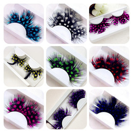 Wholesale Colorful False Feather Lashes - European and American art Latin stage exaggeration feather, false eyelashes, color eyelashes, peacock spots modeling spot goods