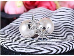 Wholesale Pearl Sterling - Apo monaco new s925 sterling silver star pearl earrings anti - allergic micro - zircon earrings burst free shipping