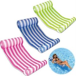 Wholesale Swimming Chairs - 3 Colors 70*132cm Summer Inflatable Chair Float Swimming Floating Bed Water Hammock Recreation Beach Mat Mattress Lounge Chair CCA6540 50pcs