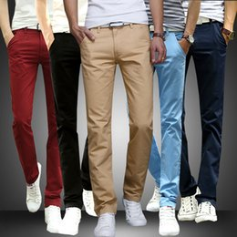 Wholesale Tracks Pants - Wholesale-Mens Straight Skinny Pants Casual Stretch Slim Fit Solid Track Pants Sweat Pants Trousers Spring Autumn Pants Men's Clothing