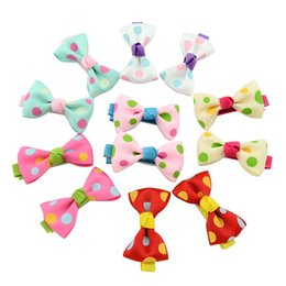 Wholesale Accessories For Girls Dot - Baby Girls Bow Clips Candy Color Solid  Polka Dot Flower Print Ribbon Bow Hairpin BB Hair Clips for Baby Girls Kids Hair Accessories KFJ88