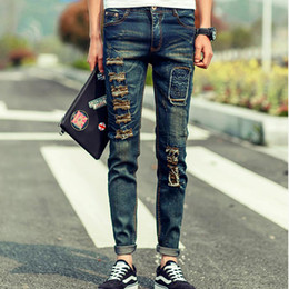 Wholesale Jeans Pants New Design - Wholesale-2016 New Fashion Men Patchwork Jeans Skull Famous Brand Design Slim Fit Ripped Hole Denim Pants For Men