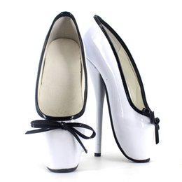 Wholesale Women Sexy Shoes Inch - New Sexy Fetish Shoes 2017 Unisex Ladies Ballet Shoes Women 7 inch High Heels Bow Tie Shiny Patent Leather Stand Toe Dance Shoes