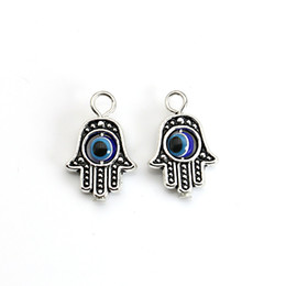 Wholesale Blue Bead Evil Eye Necklace - Wholesale-10PCS Tibetan Silver plated Hamsa Hand Charm Evil Eye Blue Bead fit Pendant Necklace Bracelet Jewelry Accessories DIY 18X13MM