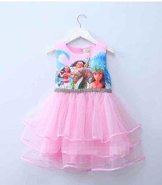 Wholesale Sleeveless For Summer Cartoon - 2017 Summer Dresses For Girls Moana Tutu Princess Girls Dress Children Party Cosplay Chiffon Kids Clothes Cartoon Child Costume 2colors