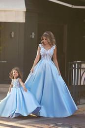 Wholesale Sexy Aqua Prom Dresses - 2017 Aqua Blue V Neck Prom Dresses with Handmade Flower A Line Satin Skirt Floor Length Arabic Dubai Vestido De Soiree Prom Gowns