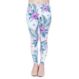 2019 tropische blumendrucke Mädchen Leggings Tropische Blume Floral 3D Grafik Full Print Frauen Dünne Stretchy Lässige Yoga Hosen Dame Bunte Muster Hosen (J44029) günstig tropische blumendrucke