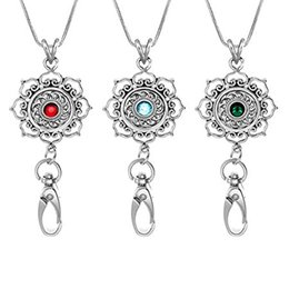 Wholesale Id Badge Holder Rhinestone - 5 Colors Silver Snap Button Fashion Pendant Necklace ID Badge Holder Keychain Name Tag Holder Interchangable Snap Button N162S