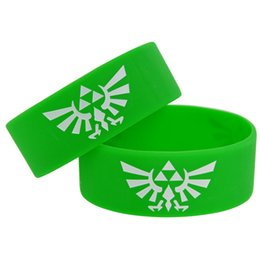 Wholesale Silicone Bracelet Game Day - 50pcs lot 1'' Wide Band Game Bracelet The Legend Of Zelda Silicone Wristband