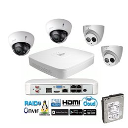 Wholesale Ip Dome Audio - Dahua 8CH 4MP POE NVR4108-P Outdoor Weatherproof 4MP audio Dome IP Camera with 2pcs zoom camera and 3TB HDD driver free
