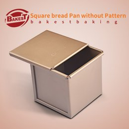 Wholesale Golden Dishes - Wholesale- BAKEST Golden Square Toast Bread Loaf Pan Aluminum Alloy Cake Baking Mold
