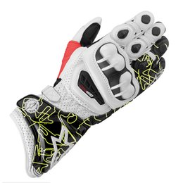 Wholesale Motorcycle Sport Glove - Newest printing GP PRO motorcycle sports racing gloves materials long style leather motorcross motorbike gloves M L XL