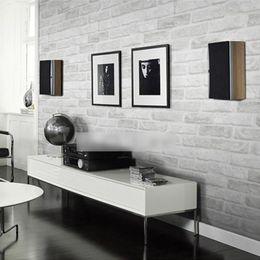 Wholesale Fireproofing Foam - Wholesale- 3D PVC Deep Embossed Foam Brick Wallpaper Modern Vinyl Waterproof Wallpaper Roll For livingroom TV Sofa Background Wall covering