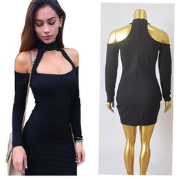 Wholesale Nightclub Drapes - 2016 Fashion Women Sexy Nightclub Bandage Dress r Long Sleeve Slash Neck Mini Bodycon Dress 4Colors