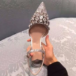 Wholesale Kitten Heel Wedding Shoes Gold - FREE SHIPPING summer crystal sequins pointed high-heeled shoes buckle empty fine female sandals with slipper silver wedding shoes240
