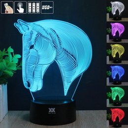 Wholesale Led Horse Night Light - Wholesale- Horse 3D Night Light RGB Changeable Mood Lamp LED Light DC 5V USB Decorative Table Lamp Get a free remote control HUI YUAN Theme