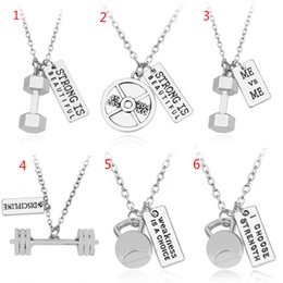 Wholesale Weightlifting Charms - Fitness Weightlifting jewelry bending Dumbbell barbell and ME VS ME charms pendant Necklace