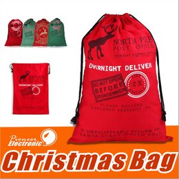 Wholesale Big Bag Large - 2017 New West Personalized Cotton Santa Sack 27.5 X 19.6 Inches Large Drawstring Christmas Bags with Christmas Presents for kids