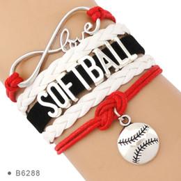 Wholesale Lacrosse Men - (10 Pieces Lot)Infinity Love Softball Tennis Lacrosse Charm Leather Wrap Cuff Bracelets For Women Men Girl Jewelry