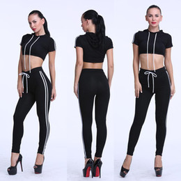 Wholesale Two Piece Jogging Suits - Women's Tracksuits summer new short-sleeved hoodies jogging leisure sports suit female running fitness two piece lacing sets 4 Colors