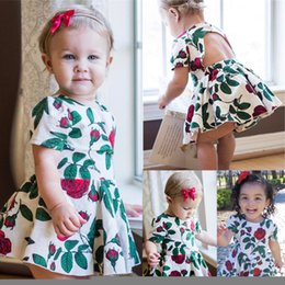 Wholesale Mermaid Style Flower Girls Dress - Fashion newborn baby girl dress + underwear two-piece outfit rose cotton backless summer flower clothes lovely kid clothing tutu skirt 6M-4Y