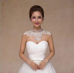 Wholesale Diamond Ball Dresses - bride lace wedding diamond necklace jewelry chain shoulder Korean wedding dress simple turtleneck female shoulder