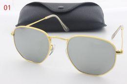Wholesale Male Fashion Sunglasses - 2017 new fashion retro designer sunglasses male and female metal polygon high quality sunglasses bright trendy personality sunglasses
