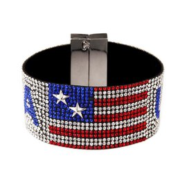 Wholesale Stainless Chain Usa - Fashion Brand Hot Drilling USA Bracelet Bangle Hand Belt With Full Bling Rhinestone Hip Hop Jewelry For Men Gift
