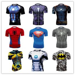Wholesale Captain 3d - 2017T shirts Compression Shirt Crossfit T-shirt Men Captain America Short Sleeve 3D-shirt Fitness Camiseta Brand Clothing Gym Clothing