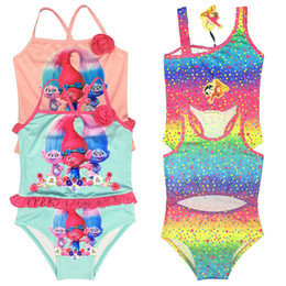 Wholesale beautiful green grass - 2017 new Trolls girls swimming suit 4colors girls beautiful choose children swimming suit DHL for free shipping I201663001