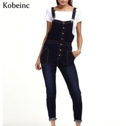 Wholesale Denim Jumpsuits For Women - Wholesale- 2017 Spring Skinny Denim Overalls for Women Single-breasted with Pockets Jumpsuits Female Plus Size Enteritos Vintage Bodysuits