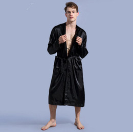 Wholesale Long Black Silk Nightgown - 2017 Men's Satin Solid Robes Bathrobe Long Sleeve Nightgown Loose Plus Size Sleepwear Dressing Gown For Male