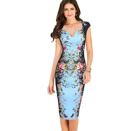 Wholesale womens work out shorts - Wholesale- 2016 Womens Summer Sexy Deep V-Neck Flower Floral Printed Cap Sleeve Tunic Slim Casual Party Bodycon Working Pencil Sheath Dress
