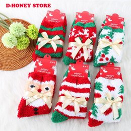 Wholesale Wholesale Colored Socks - 2016 Fashion Cute Plush Soft Socks Ladies Girls santa trees printed Winter Warm Socks Catton Pattern Comfortable Christmas Gift