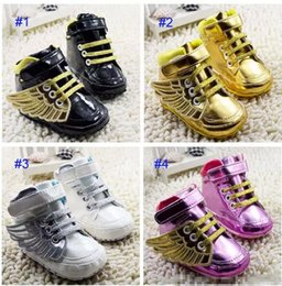 Wholesale Wholesale Lace Booties - Baby Angel wings modeling booties toddler shoes 2017 new children lovely cartoon gold Pure cotton baby First Walker Shoes 4 Color