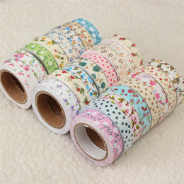Wholesale Lovely Fabric Tape - Wholesale- 2016 DIY Lovely Fabric Cloth Masking Decorative Tape Sweet Vintage Flower Floral Tapes Sticky for Album Scrapbooking Decor 15mm
