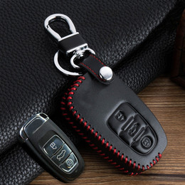 Wholesale Audi Remote Covers - Genuine Leather Remote Control Car Keychain Case for Audi A6L A4L Q5 A5 A6 S6 A7 Car Key Cover with logo