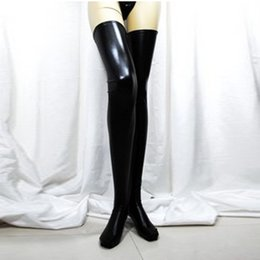 Wholesale Latex Thigh High Socks - Wholesale-Women Sexy Black Spandex Thigh High Latex Socks Glam Rock Gothic Wetlook