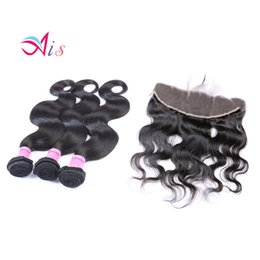 Wholesale Cheap Malaysian Body Wave - 7A Brazilian Hair With Closure 3 Bundles With 13*4 Closure Human Hair Weave Cheap Brazilian Body Wave With Lace Closure