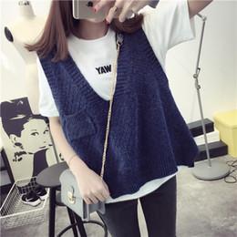 Wholesale Knitted Sweater Vest Korean - Wholesale- De Dove2016 spring new Korean loose sweater vest sweater vest vest College Wind Jacket Women's