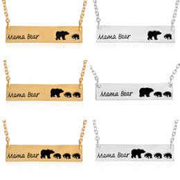 Wholesale Long Necklace Wholesale - 6Pcs Fashion Jewelry Mama Bear Baby Bear Pendant Necklaces For Women Girls Cute Silver Gold Color Long Chain Necklaces