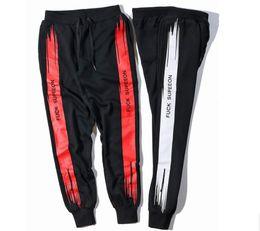 Wholesale Harem Jumpsuit Black - Patched Jogger Track Harem Pants Cool Sweatpants Black Orange Striped Joggers Kanye West Calabasas Streetwear sup Mens Jumpsuit