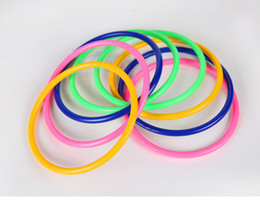 Wholesale Educational Pillars Toys - 10pcs lot Colorful Hoopla Ring Toss Cast Circle Sets Fun Educational Stacking Pillar with Plastic Rings Toy Puzzle Game for Kids