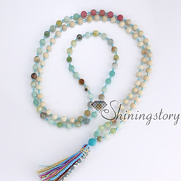 Wholesale Indian Meditation - 108 meditation beads tibetan hindu prayer beads yoga mala bracelet tassel pendant necklace wholesale spiritual healing crystal jewelry
