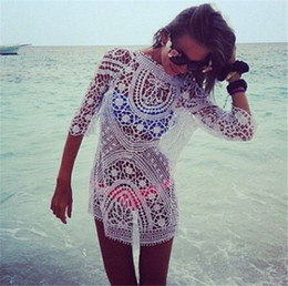 12eb5b2db9 Lace Sexy Bikini Pullover Swimwear Dress Perspective Swimsuit Top Cover-ups  Beach Dresses Crochet Knitted Hollow Out Shirt Blouse for Women