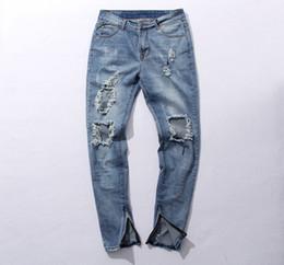 Wholesale Legging Broken - Wholesale-Fear of god FOG style broken hole damaged Distressed ripped lt blue jeans leg zipper Kanye west men deinm pants