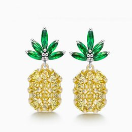 Wholesale Big Yellow Earrings - Sanbuzhi Brand 2017 Summer Fashion Yellow Big Crystal Pineapple Earring For Women's Ladies Sweet Stud Cute Style Earring Piercing ZE56