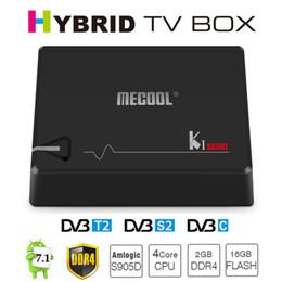 Wholesale Dvb C Box - MECOOL KI Pro Android 7.1 DVB-S2&DVB-T2&DVB-C COMBO Smart TV Box 2GB DDR4 16GB Amlogic S905D 64 bit Quad Core KIpro H.265 4K Set-top Box